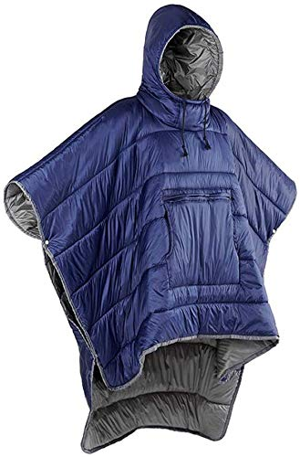 MMW Adult Wearable Sleeping Bag - Hoodie Blanket, Portable Outdoor Honcho Poncho Warm Cover Coat, Windproof Water-resistant Cloak Cape for Cold Weather Outdoors, Home or Office Use,Blue