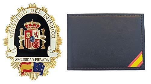 Tiendas LGP- Cartera Portaplaca de Polipiel - con Bandera de España, Seguridad Privada, Billetero, Tarjetero, Documentos, Color Negro