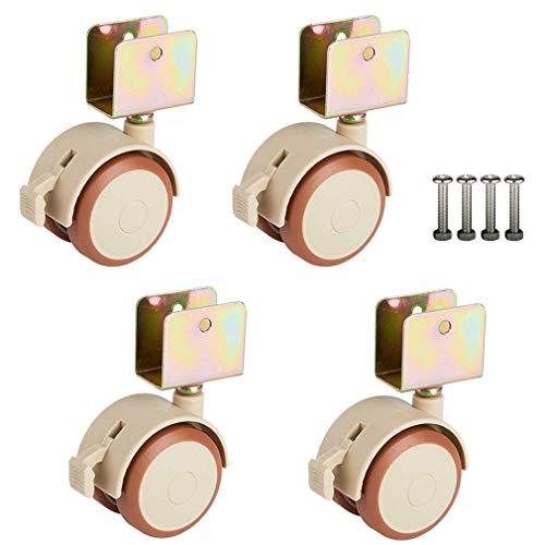 Conjunto de 4 ruedas giratorias giratorias de cáscara de cáscara de cáscara de caucho para niños de 2 pulgadas con freno, accesorios de rueda de cuna, carga de 100 kg, rueda doble, silenciosa, con tor