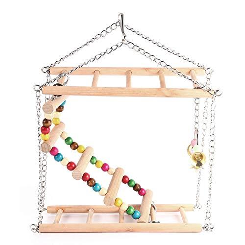 FAMKIT Juguete de escalera para pájaro, escalera colgante de madera, escalones de escalada, columpio de doble capa, juguetes para pájaros, periquitos, hámster, cacatúas, loros, hamacas, juguetes