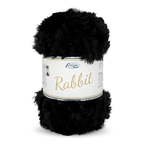 Rellana NEU Rabbit,Garn in Felloptik,kuschelweich,100 gr. (02 schwarz)