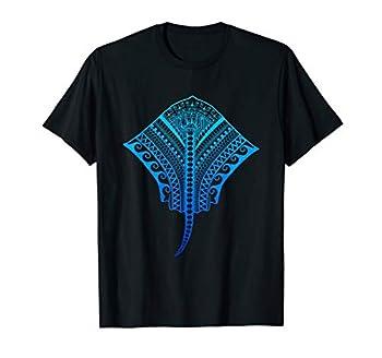 Ocean Blue Hawaiian Tribal Stingray Island Beach T-Shirt