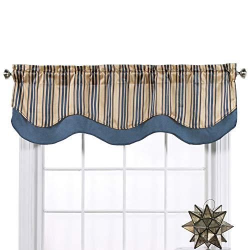 Belle Maison Windsor Jaquard Layered Valance Color: Blue