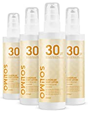Marchio Amazon - Solimo - SUN - Lozione solare corpo SPF 30, con vitamina E, antiossidante (4x200 ml)