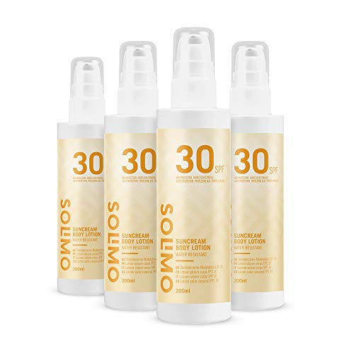 Amazon Brand - Solimo Sun - Suncream Body Lotion, SPF 30, with Vitamin E, antioxidant (4x200 ml)