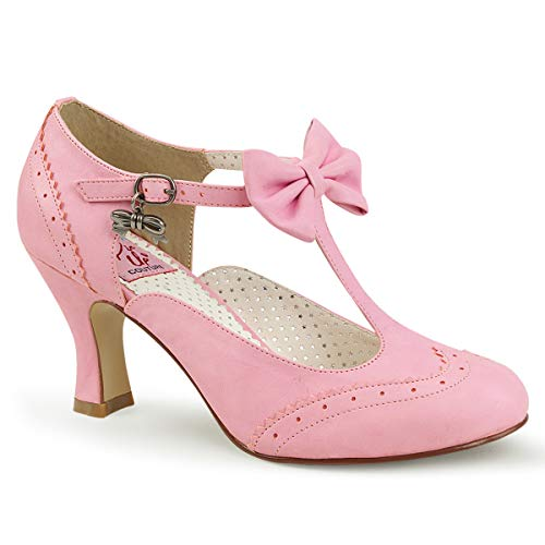 Pinup Couture Damen Flapper-11 T-Spangen Pumps, Pink (Pink Faux Leather PNPU), 40 EU
