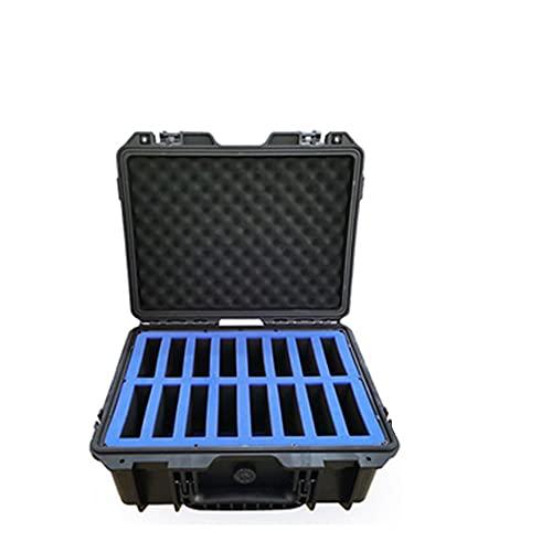 Cassa del valigia del disco rigido, scatola di immagazzinaggio HDD multi-protezione a 16 bay, copertura superiore in schiuma di uova, impermeabile e umidità-proo, rimovibile, per2,5 '/3,5' HDDS,Blu
