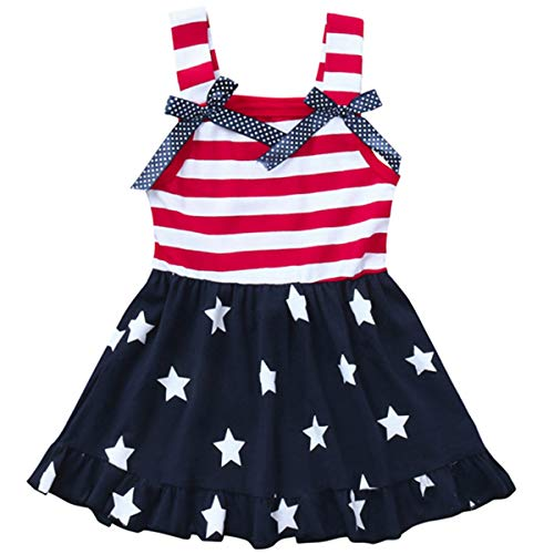 LYSMuch Toddler Kids Baby Girls 4th of July Outfit American Flag Dress Stars Striped Straps Princess Beach Sundress (3T / 2-3 Years Old, Red White Blue)