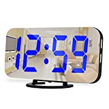 Digital Alarm Clocks,6.5 Inch Large Display LED Mirror Electronic Clock, with Dual USB Charging Ports,Snooze,12/24H,3 Adjustable Brightness,for Bedroom Home Office - Blue