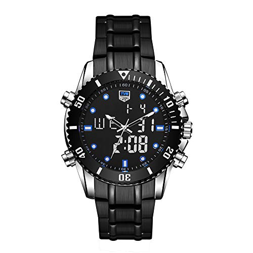 Men's Watch Casual Waterproof Watch Luxury All Steel Business Watch Big Face Analog Digital Dual Time EL Backlight Multifunction Outdoor Watch Military Watch