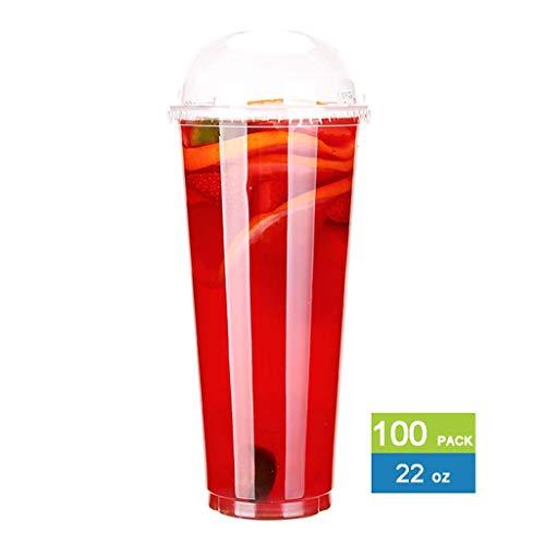 Zunruishop Wegwerp Cold Drink Party Cups 16 Oz Wegwerp Transparante Plastic Cup Cold Drink Juice Melk Theekop 100 met Deksel Plastic Beker voor Koud Drinken Shop Party Beach Bulk Party Cups
