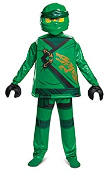 Disguise Lloyd Costume for Kids Deluxe Lego Ninjago Legacy Themed Children s Character Outfit Child Size Small  4-6  Green  100399L