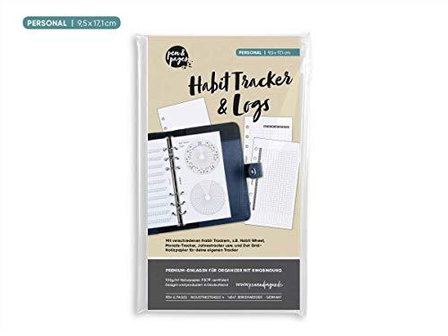 pen & pages® Habit Tracker & Logs - Einlagen-Set für Ringplaner - Personal - 6 Löcher - Personal Organizer, Habit Tracker, Monats-Tracker, Jahrestracker, Dot Grid Notizpapier, 9,5 x 17,1 cm