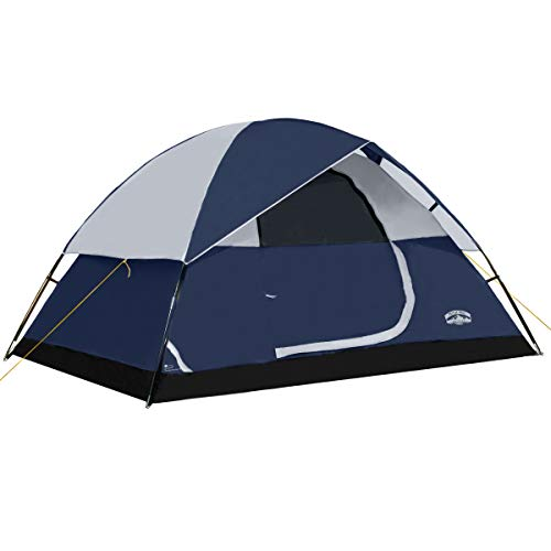 Pacific Pass 4 Person Family Dome Tent with Removable Rain Fly, Easy Set Up for Camp Backpacking Hiking Outdoor, Navy Blue