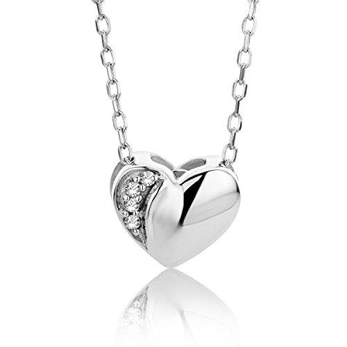 Orovi Collar Señora Corazón con cadena en Oro Blanco con Diamantes Talla Brillante Oro 9 Kt / 375 Cadena 45 Cm