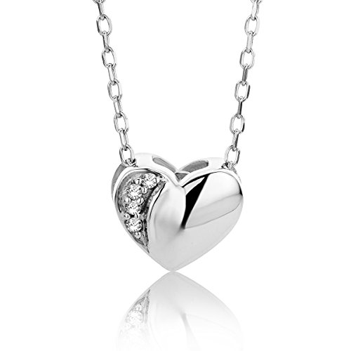 Orovi Collana - Pendente - Ciondolo Donna Cuore con Catena in Oro Bianco con Diamanti Taglio Brillante Oro 9 Kt / 375 Catenina Cm 45