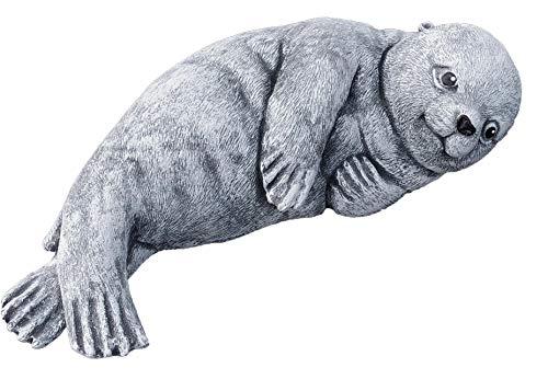 Steinfigur Robbe Seehund, Frost- und wetterfest bis -30°C, massiver Steinguss