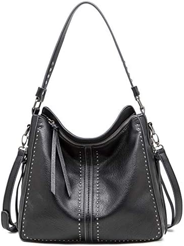 Montana West Large Hobo Handbag for Women Studded Leather Shoulder Bag Crossbody Purse With product image