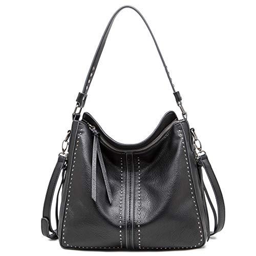 Montana West Large Hobo Handbag for Women Studded Leather Shoulder Bag Crossbody Purse With Tassel MWC-1001BK