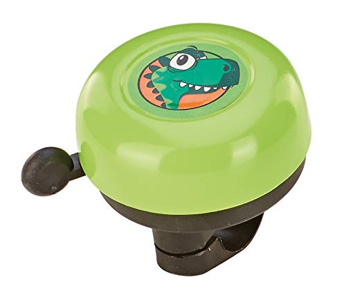 Prophete Unisex Jugend Kinderrad-Glocke, grün mit Dino-Motiv Fahrradglocke, One Size