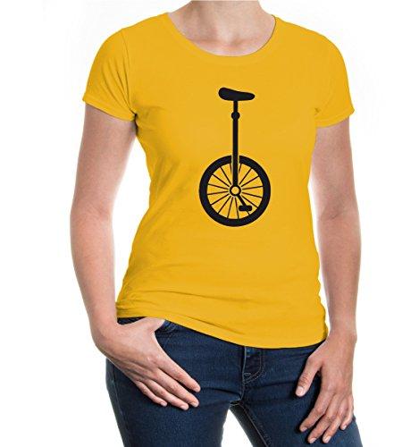 buXsbaum® Damen Kurzarm Girlie T-Shirt Bedruckt Einrad-Silhouette | Kunstradfahren Zirkus Artist | XS, Gelb