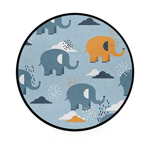 AABAO Teppich mit Elefantenmotiv, rund, rutschfest, bequem, rund, für Wohnzimmer, Schlafzimmer, 92 cm Durchmesser