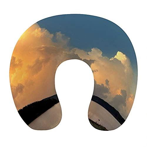 Almohada para Viaje Suave Viscoelastica 30x29x10 cm Almohada Viaje Cervical Transpirable Lavable Almohadas con Cremallera Relajarse Reposacabezas,Nubes de Colores