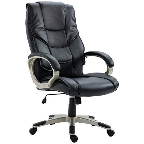 HOMCOM Bürosessel Chefsessel mit Wippfunktion Bürostuhl Drehstuhl Stuhl Schreibtischstuhl Sessel Büro Schwarz Kunsterleder Metall 70 x 58 x 114–124 cm
