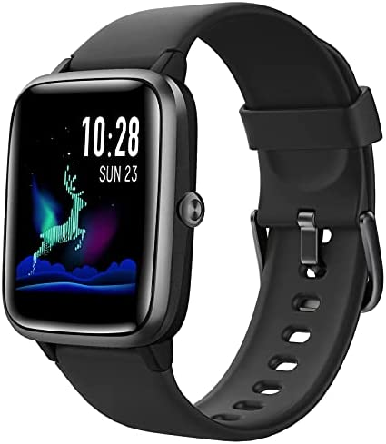 HAFURY Smart Watch Activity Fitness Tracker Watch for Men Women, Smartwatch for Android & iOS, Fitness Watch Heart Rate Monitor, IP68 Swimming Waterproof Watch with Calories Step Sleep Tracker, Black