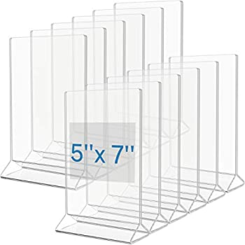 MaxGear Acrylic Sign Holder-Plastic Sign Holder-5 X 7 Inches Clear Sign Display Holder-Table Menu Stand-Double Sided Plastic Display Ad Picture Frame for Office Home Store Restaurant 12 Pack