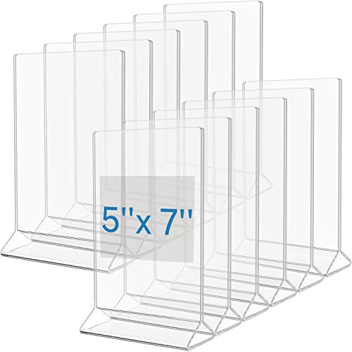 MaxGear Acrylic Sign Holder-Plastic Sign Holder-5 X 7 Inches Clear Sign Display Holder-Table Menu Stand-Double Sided Plastic Display Ad Picture Frame for Office, Home, Store, Restaurant, 12 Pack