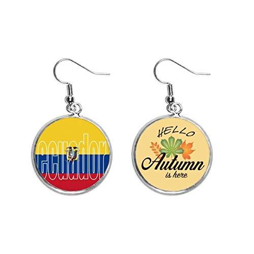 Nombre de la bandera de Ecuador Lóbulos de Otoño Pendientes Colgante Hojas Pendientes Joyas