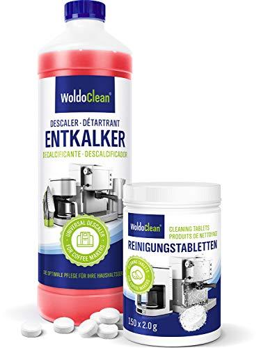 WoldoClean 750ml Entkalker und 150x Reinigungstabletten Reinigungsset für Kaffeevollautomaten