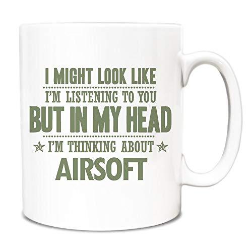 Thee mok, witte keramische mok koffie mok salie groen kan eruit zien als ik luister maar in mijn hoofd ik denk over Airsoft 11 Ounces