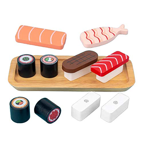 Hellery Juego de Sushi de Madera Juego de Juguetes Juego de Rebanado para Niños Disfrutar del Juego de Roles Pretender Chef