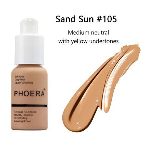 GARYOB Liquid Foundation PHOERA Flüssigmatt Full Coverage Concealer Cover Shadows Skin Care Foundation Oil Control Erhellen Sie den langlebigen Shade 30ml
