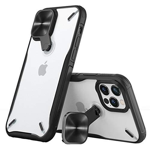 Nillkin Kompatibel mit iPhone 12 & iPhone 12 Pro Hülle mit 360 Grad Drehbare Kamera Deckel & Ständer 2 in 1, Anti-Kratzen Stoßfeste Handyhülle für iPhone 12/12 Pro Hülle Schwarz
