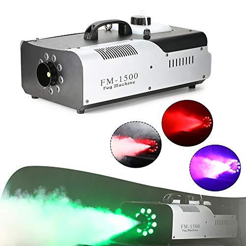 1500W Rauchmaschine, RGB LED DMX512 Nebelmaschine, CO2 Maschine, Tragbarer 3 in 1 Nebelgenerator, Nebelmaschine mit Fernbedienung