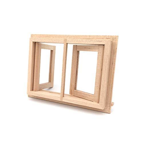 Mothcattl Leeres Holzfenster, 1:12 Puppenhaus-Sessel Miniaturmöbel-Dekor-Zubehör, Mini-Szenenmodell-Zubehör, Spielhaus-Geschenke Holz