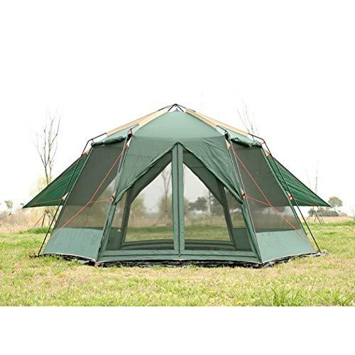 Carpa UV Hexagonal Acampar al Aire Libre Salvaje Carpa Grande Carpa de Camping Acampar 8-12 Doble Tienda de Mosquitos a Prueba de Lluvia toldo jardín pérgola
