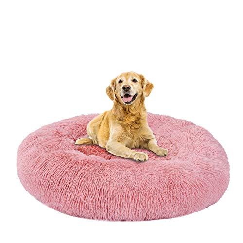 Cama para Mascotas, Cama para Gatos Tipo Perrera, Mullida, Felpa, Lavable, Cama para Gatos, Adecuada para Mascotas Pequeñas Y Medianas, Fácil De Limpiar 90 Cuero Rosa
