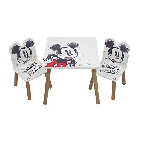 ARDITEX WD13695 Set de Mesa (50x50x44cm) y 2 Sillas (26.5x26.5x50cm) de Madera de Disney-Mickey