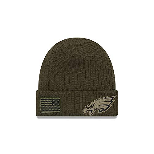 New Era Philadelphia Eagles Beanie On Field 2018 Salute to Service Knit Green - One-Size