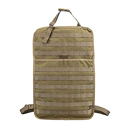 Yipianyun Tactical MOLLE Vehicle Front Seat Storage, with Bottle/Flashlight/Recycle Pouch Car Seat Back Organizer Seat Cover Protector Universal,Beige
