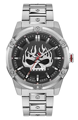 Harley-Davidson Reloj de acero inoxidable para hombre, diseño de calavera Willie G, plateado 76A164