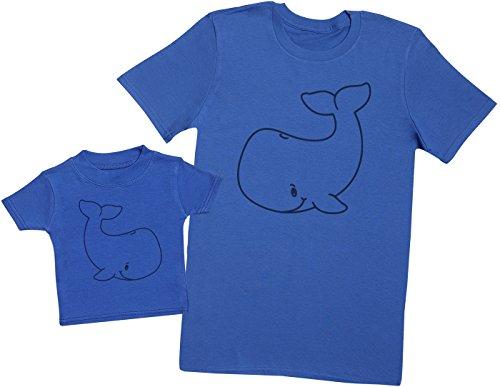Zarlivia Clothing Baby and Adult Whale - Ensemble Père Bébé Cadeau - Hommes T-Shirt & T-Shirt bébé - Bleu - M & 0-3 Mois