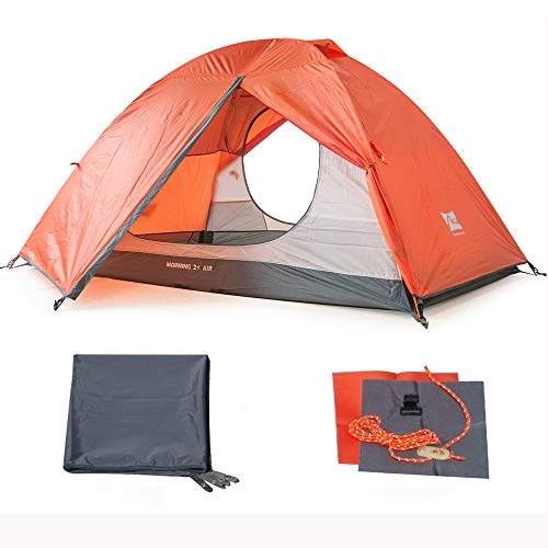 MIS 2 Person Tent, Double Layer Waterproof Camping Tent with Footprint and Two Side Door, Portable Outdoor Tent for Family Hiking Glamping Travel