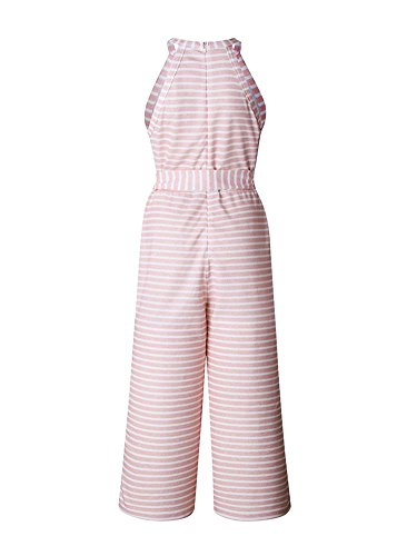 Minetom Jumpsuit Damen Sommer Streifen Elegant Playsuit Blumenmuster Strand Ärmellos Overall Lang Romper A Rosa DE - 6