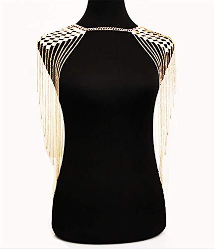 Deniferymakeup Boho Quaste Schulter Kette Körperkette Legierung Halskette Körperzubehör für Frauen und Mädchen