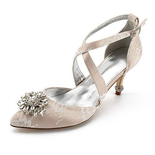 AQTEC Zapato de Tacón para Mujer en Punta de satén con Bandas Cruzadas Tacones de Aguja Diamante de imitación Flores decoración Zapatos de Boda de Novia,Champagne,39 EU